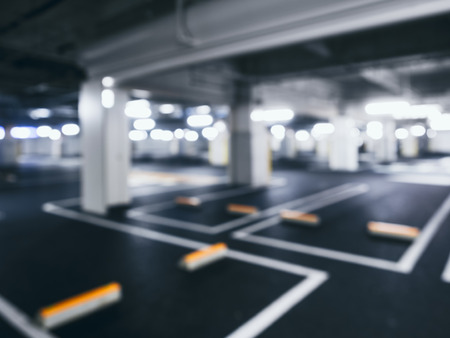 Foto de Blurred car park indoor Basement with Neon Lighting - Imagen libre de derechos