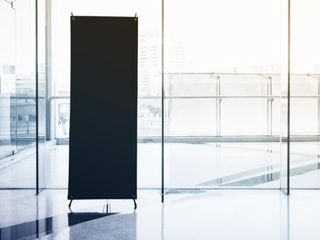 Foto de Mock up Banner Stand Black Template with Modern Interior Building - Imagen libre de derechos