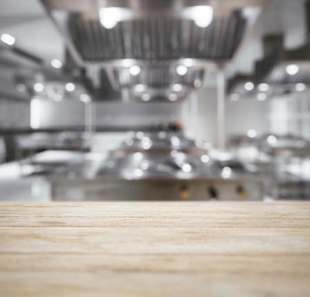 Photo pour Table top Counter with Blurred Kitchen Background - image libre de droit