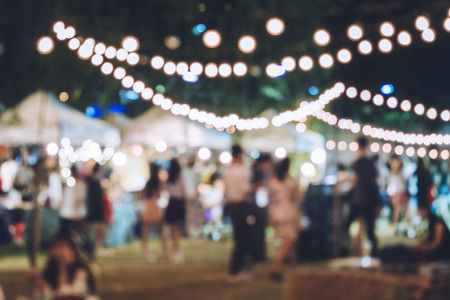 Foto de Festival Event Party with Hipster People Blurred Background - Imagen libre de derechos