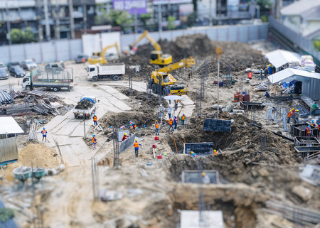 Foto de Construction site outdoor Aerial top view - Imagen libre de derechos