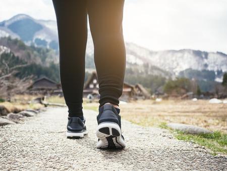 Photo pour Woman legs Hiking Trail Mountain landscape Outdoor Lifestyle Travel adventure - image libre de droit