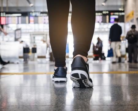 Photo pour People walk in train station Travel concept - image libre de droit