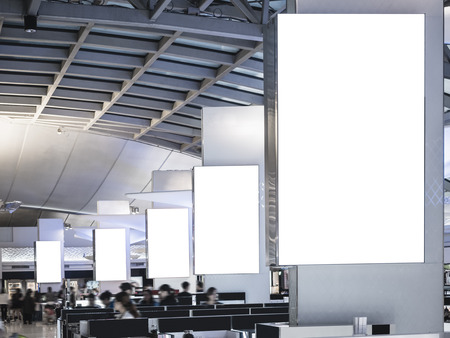 Photo for Mock up Light Box set Media Banner Template Display Airport  interior with people - Royalty Free Image