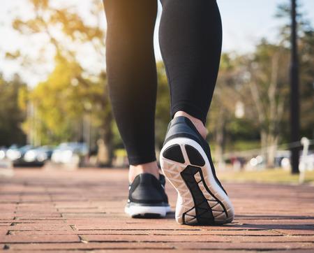 Photo pour People Legs Sport shoe walk jogging exercise Park Outdoor  - image libre de droit