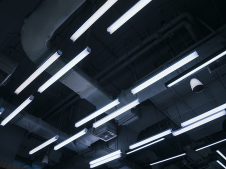 Foto de Neon light design pattern Indoor building electric system - Imagen libre de derechos