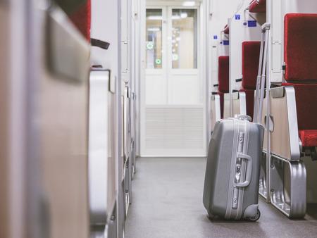 Photo pour Luggage in Train interior Train Travel concept - image libre de droit