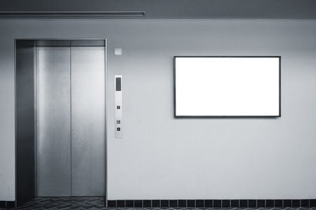 Photo pour Blank screen sign on wall Indoor Building with elevator - image libre de droit