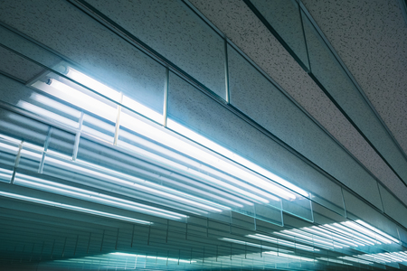 Foto de Neon light pattern Indoor building Energy saving electric system - Imagen libre de derechos