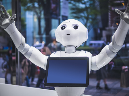 Photo for TOKYO, JAPAN - APR 16, 2018 : Pepper Robot Humanoid Assistant with Information screen in Softbank shop Japan - Royalty Free Image