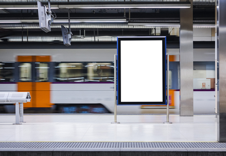 Photo pour Mock up Board Banner Poster in Subway Train station Blur Train moving background - image libre de droit