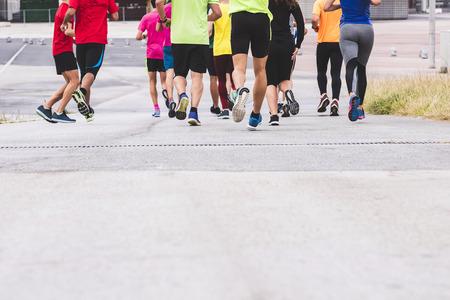 Photo pour Marathon runners People Race to finish line Outdoor sport training exercise - image libre de droit