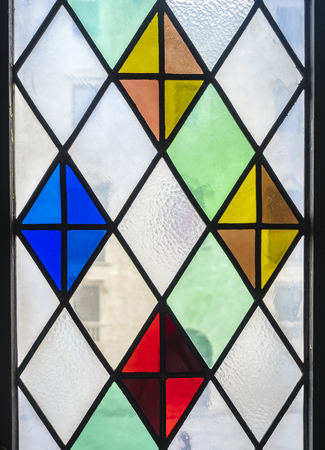 Photo for Stained glass window decoration Transparent colorful pattern - Royalty Free Image