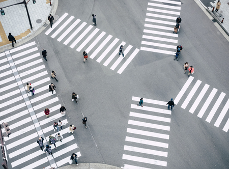 Photo for People walking Crossing street Sign Top view Crosswalk in city Traffic - Royalty Free Image