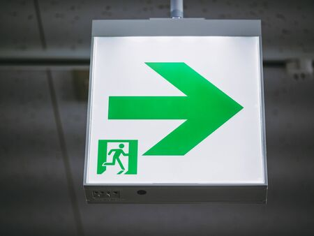 Foto de Fire Exit Sign Light box Building Safety signage - Imagen libre de derechos