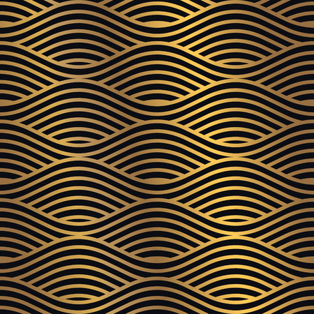 Illustration pour Golden seamless pattern on a dark background. Minimal design pattern combined with flashy golden gradient. Vector graphic design element. - image libre de droit