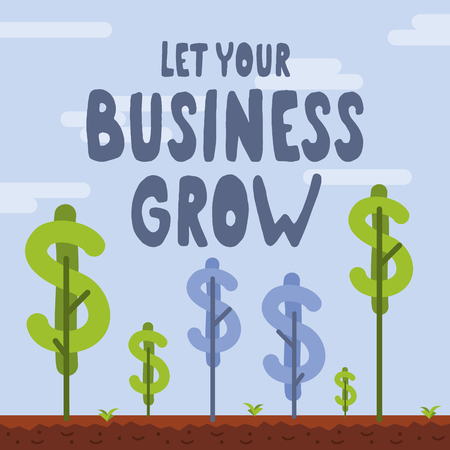 Illustration pour Let your business grow vector illustration. Business related conceptual vector graphics. Be patient, give it care and let it grow. - image libre de droit