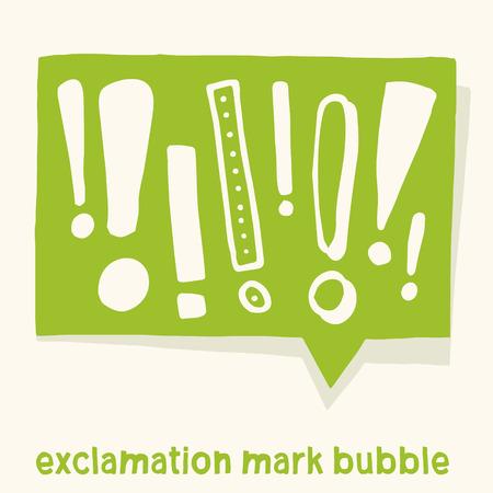 Ilustración de Comic bubble with various exclamation marks in it. Vector handmade graphic design. For warning, informations or announcements. - Imagen libre de derechos