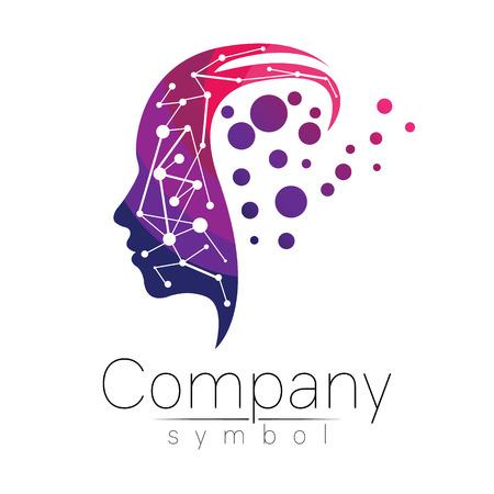 Ilustración de Vector symbol of human head. Profile face. Violet pink color isolated on white background. Concept sign for business, science, psychology, medicine. Creative sign design Man silhouette. Modern logo - Imagen libre de derechos