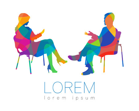 Illustration pour The people talk. Counselling or psychotherapy session. Man woman talking while sitting. Silhouette profile. Modern symbol icon. Design concept sign. Rainbow bright and colorful. - image libre de droit