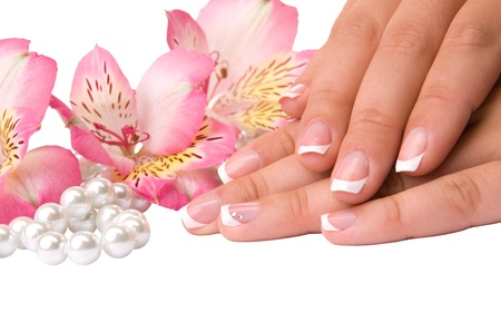 nail care for women's hands, isolated on white background