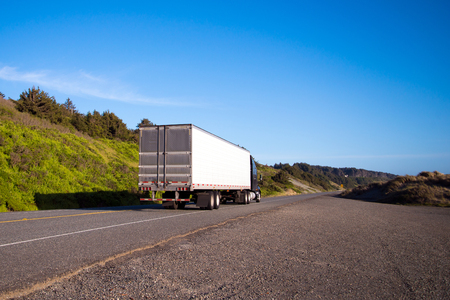 Photo pour Alone semi truck with a dry van trailer leaves into the distance beyond the horizon line on a lonely road with green grass and bushes along the Pacific coast in the Northwest - image libre de droit