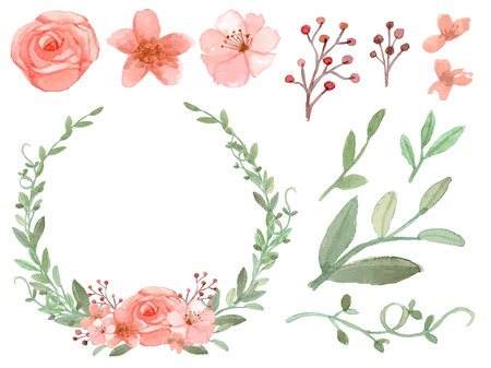 Ilustración de Set of flowers and leaves vector on white background - Imagen libre de derechos