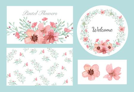 Ilustración de Vector of flowers and leaves design set in pastel collection - Imagen libre de derechos