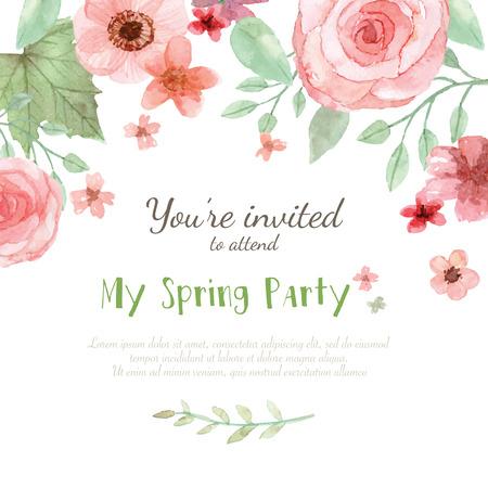 Illustration pour Flower wedding invitation card, save the date card, greeting card - image libre de droit