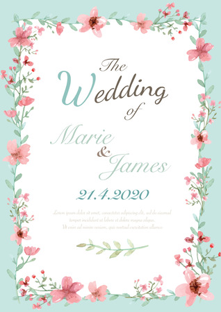 Ilustración de Flower wedding invitation card, save the date card, greeting card - Imagen libre de derechos