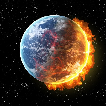 Illustration for View of the earth in fire from space with fire vector illustration - Royalty Free Image