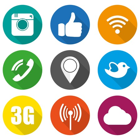 Illustration pour Icons for social networking vector illustration in flat - image libre de droit