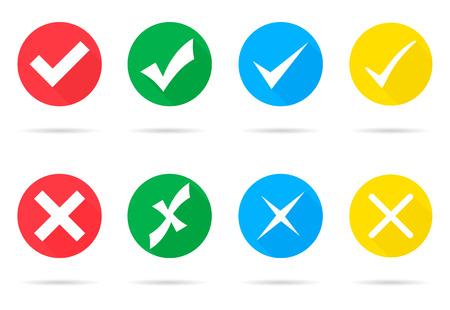 Illustration pour Set of different vector check marks and crosses - image libre de droit
