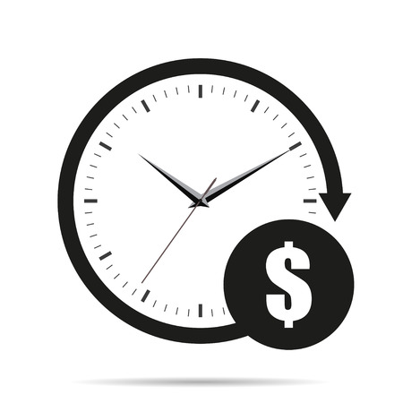 Illustration pour Time is money icon with shadow - image libre de droit