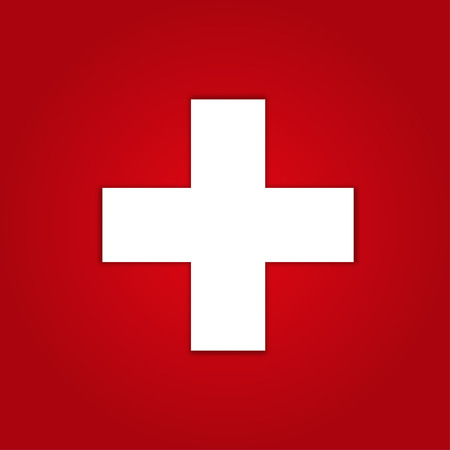 Illustration pour First aid icon on red background - image libre de droit