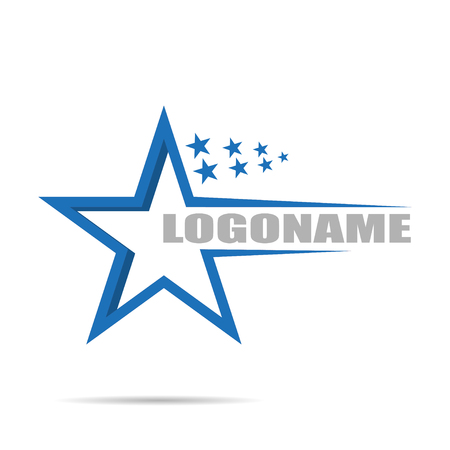 Illustration for On white background Logo company with stars, flat design - Royalty Free Image