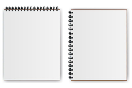 Notebooks with spiral with shadow horizontally  and vertically