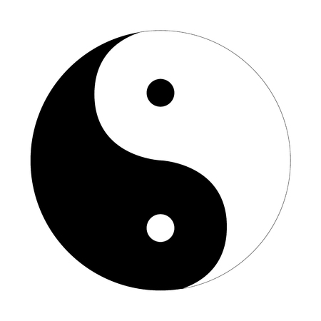 Ilustración de Yin Yang icon flat on a white  background - Imagen libre de derechos