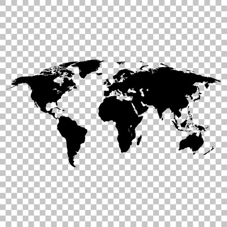 Illustration pour World map black colored silhouette  earth stylish - image libre de droit