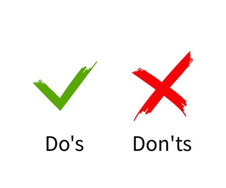 Illustration pour Do's and Don'ts, Check mark with cross flat design, vector - image libre de droit