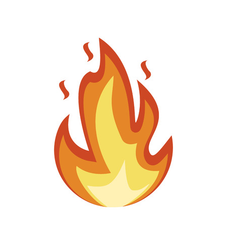 Illustration for Fire emoji icon. Flame fire sign. Fire isolated on white background. Vector illustration - Royalty Free Image