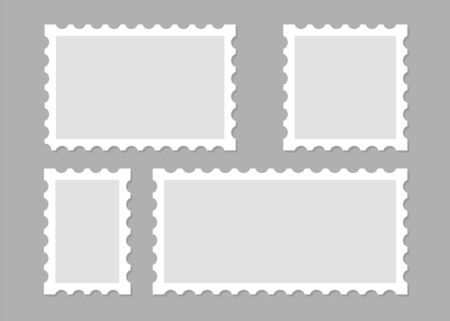 Illustration pour Illustration with blank postage stamps. Isolated vector design. Perforated edge label. Label, sticker vector illustration - image libre de droit