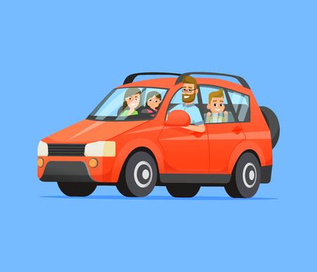 Ilustración de Family travel on a red car. Vector flat style illustration. - Imagen libre de derechos