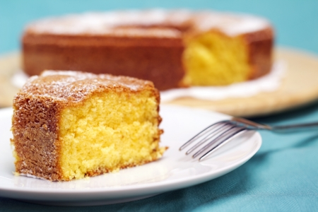 Photo for close-up of a plate with a slice of cake - Royalty Free Image