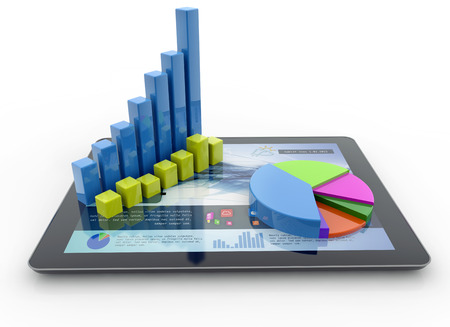 Photo pour three-dimensional charts over a tablet on white background - image libre de droit