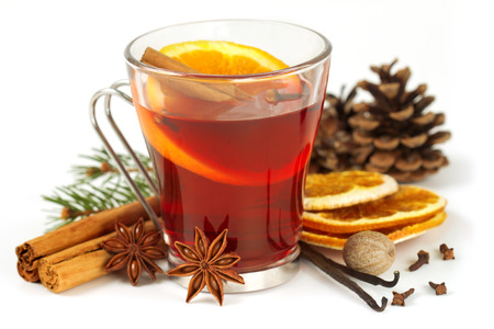 Photo for glass of mulled wine and spices on white background - Royalty Free Image