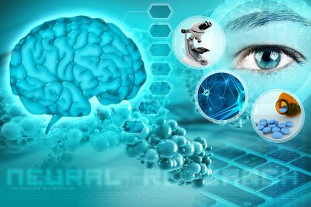 Foto de human brain and eye in an abstract neurological background - Imagen libre de derechos