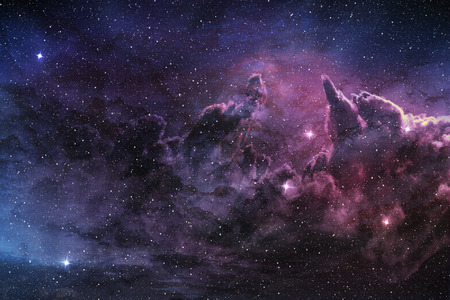 Photo for purple nebula and cosmic dust in star field - Royalty Free Image