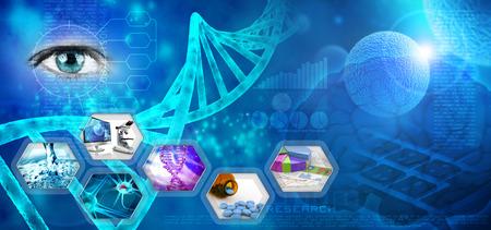 Foto de medical and pharmaceutical research abstract blue backdrop - Imagen libre de derechos