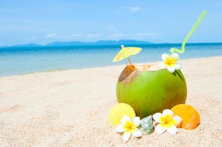 Photo pour Ocean beach with palm and and coctail - image libre de droit